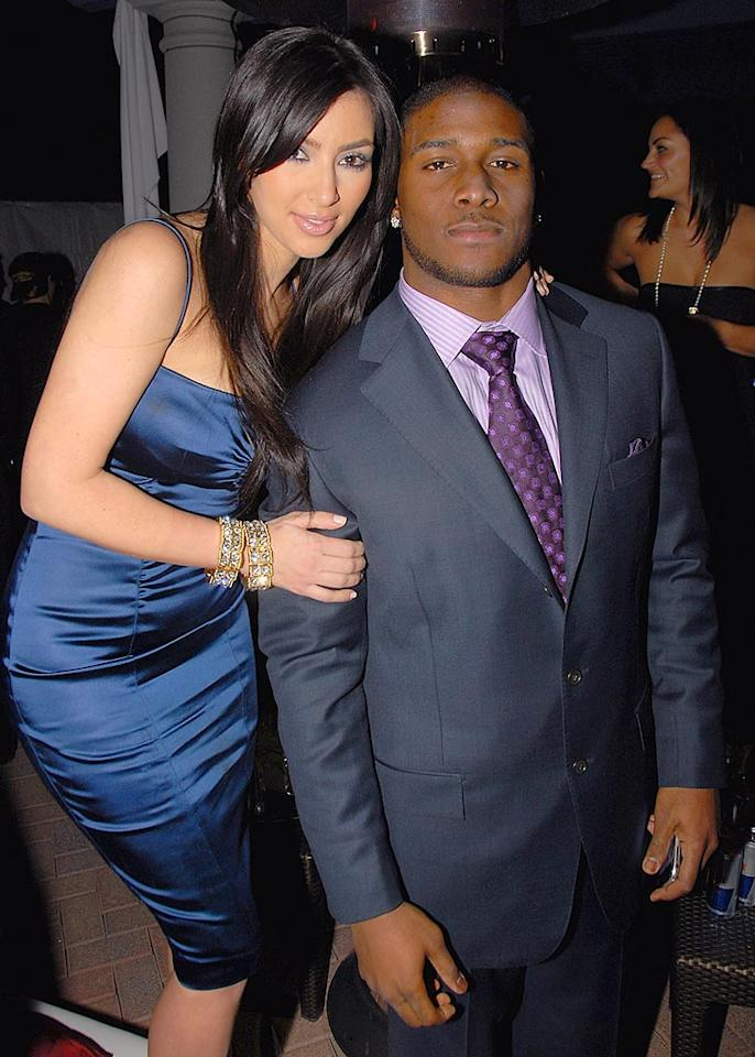 "Reality TV ""star"" Kim Kardashian and her beau, NFL running back Reggie Bush, strike a pose at the star-studded Maxim party. Theo Wargo/<a href=""http://www.wireimage.com"" target=""new"">WireImage.com</a> - February 1, 2008"
