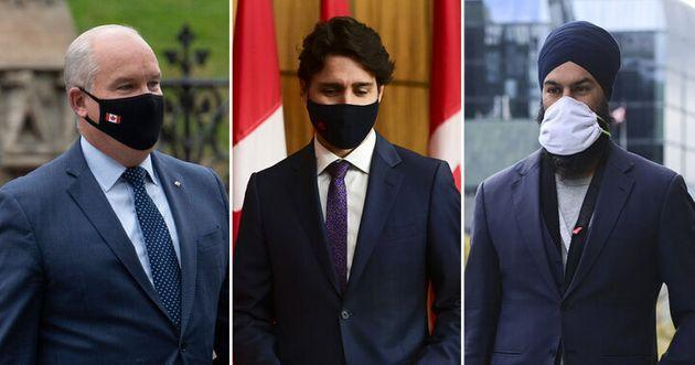 Conservative Leader Erin O'Toole, Prime Minister Justin Trudeau, and NDP Leader Jagmeet Singh are shown in a composite image of photos from The Canadian Press.