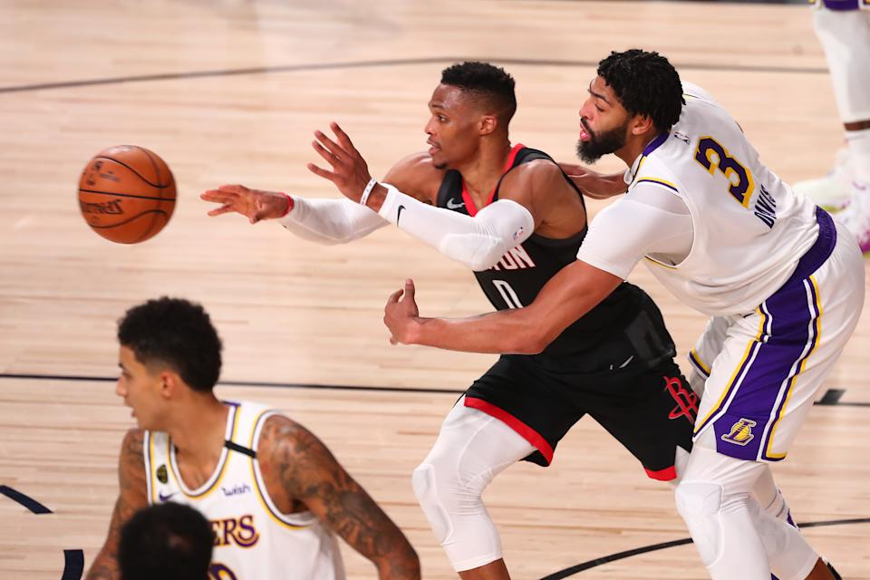 Anthony Davis and Russell Westbrook will have the share the ball, along with LeBron James, now that they are Lakers teammates. (Kim Klement/USA TODAY Sports)