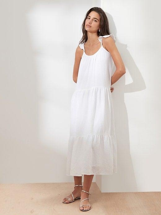 """<br><br><strong>Banana Republic</strong> Frill-Sleeve Gauze Tiered Midi Dress, $, available at <a href=""""https://go.skimresources.com/?id=30283X879131&url=https%3A%2F%2Fbananarepublicfactory.gapfactory.com%2Fbrowse%2Fproduct.do%3Fpid%3D839742011%26cid%3D1145487%26pcid%3D1145487%26vid%3D2%26cpos%3D32%26cexp%3D287%26kcid%3DCategoryIDs%253D1145487%26cvar%3D1701%26ctype%3DListing%26cpid%3Dres21072210375884101901149%23pdp-page-content"""" rel=""""nofollow noopener"""" target=""""_blank"""" data-ylk=""""slk:Banana Republic Factory"""" class=""""link rapid-noclick-resp"""">Banana Republic Factory</a>"""