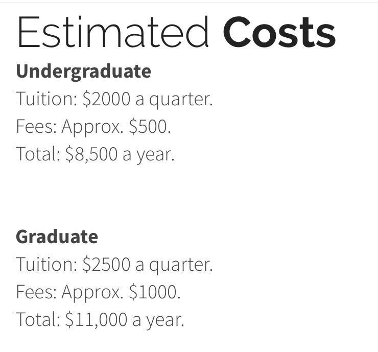 Tuition costs shown on the website of the University of Farmington, a fake university created by investigators with ICE, which is part of the Department of Homeland Security. More than 600 students had enrolled at the university, said federal prosecutors.