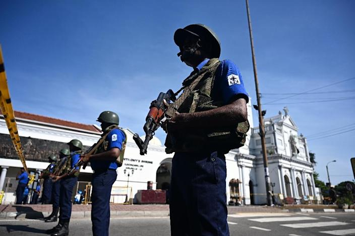 Security personnel stand guard outside St. Anthony's Shrine in Colombo -- the attacks were the worst ever carried out against Sri Lanka's small Christian minority, who make up just seven percent of the country's population of 21 million (AFP Photo/Jewel SAMAD)