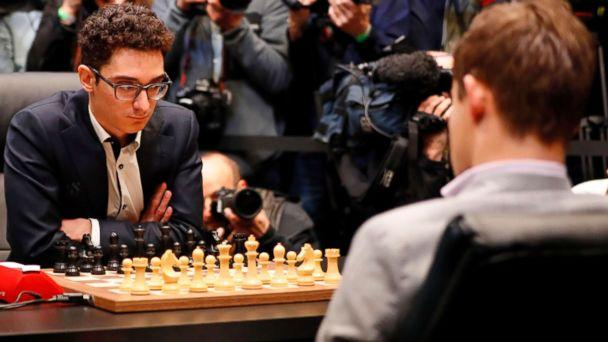 PHOTO: Fabiano Caruana prepares to play in the tie-break matches of the 2018 World Chess Championship against reigning world chess champion, Norway's Magnus Carlsen, in London, Nov. 28, 2018. (Tolga Akmen/AFP/Getty Images)