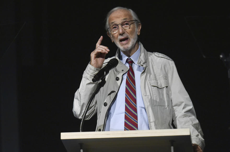Renzo Piano speaks at a press conference for the opening of the Academy Museum on Tuesday, Sept. 21, 2021, in Los Angeles. (Photo by Richard Shotwell/Invision/AP)