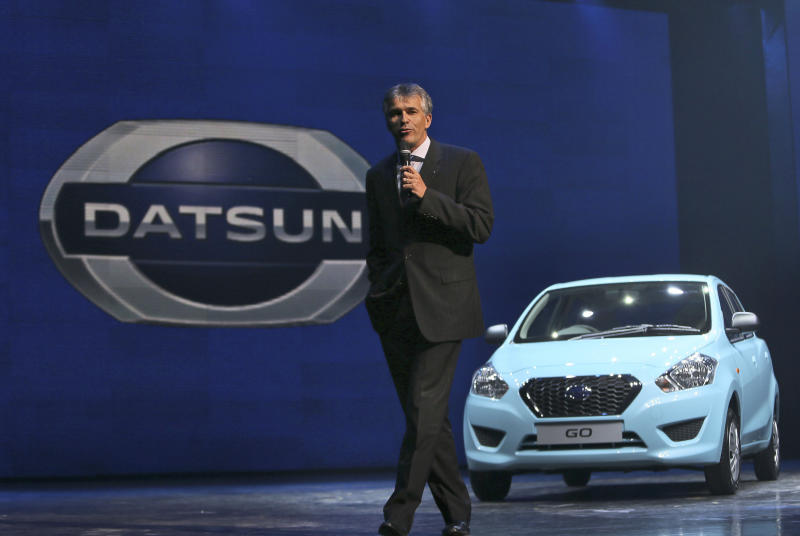 Vincent Cobee, corporate vice president, Datsun Business Unit, Nissan Motors Co., speaks to the media during Datsun Go global launch in New Delhi, India, Monday, July 15, 2013. Nissan has introduced the first new Datsun model in more than three decades in the Indian capital. The company hopes bringing back the brand that built its U.S. business will fuel growth in emerging markets with a new generation of car buyers. The reimagined Datsun - a five-seat hatchback - will go on sale in India next year for under 400,000 rupees (about $6,670). (AP Photo/Manish Swarup)