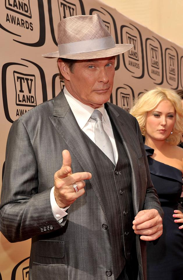 """David Hasselhoff arrives at the <a href=""""/the-8th-annual-tv-land-awards/show/46258"""">8th Annual TV Land Awards</a> held at Sony Studios on April 17, 2010 in Culver City, California. The show is set to air Sunday, 4/25 at 9pm on TV Land."""