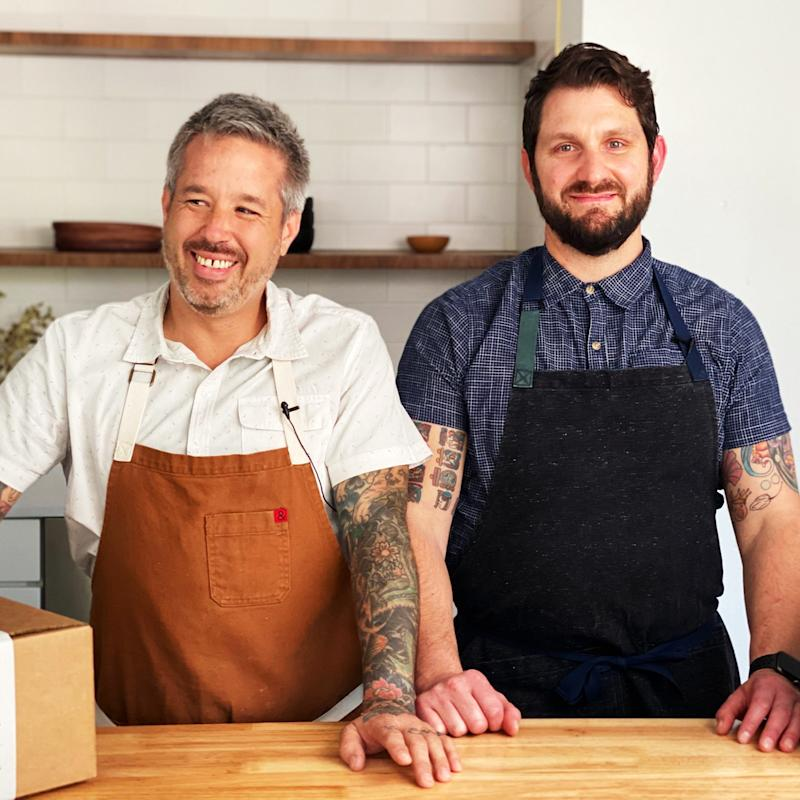 Philip Speer and Gabe Erales, the chefs and co-owners of Comedor in Austin, show customers how to assemble their delivered meals through videos.
