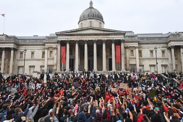 Protesters in London's Trafalgar Square during a Black Lives Matter rally (Victoria Jones/PA)