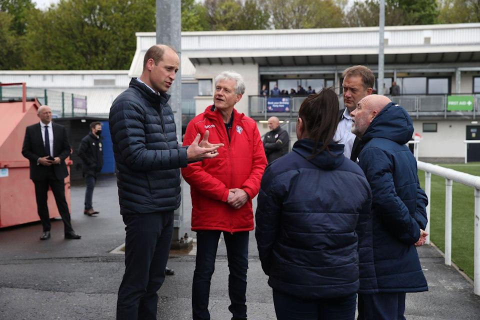 <p>Meeting representatives from Spartan FC who helped distribute local food parcels, during a visit to Spartans FC's Ainslie Park Stadium on May 21, 2021 in Edinburgh, Scotland.</p>