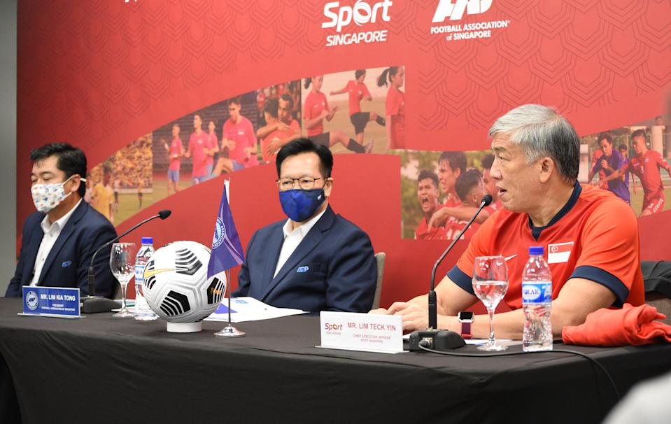 (From left) FAS deputy president Bernard Tan, president Lim Kia Tong and SportSG CEO Lim Teck Yin unveil a national project to raise the standards of football in Singapore. (PHOTO: Football Association of Singapore)