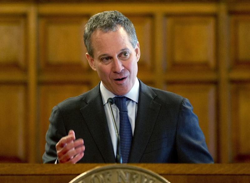 FILE - In this May 1, 2013 file photo, New York Attorney General Eric Schneiderman speaks during Law Day at the Court of Appeals in Albany, N.Y. Major League Baseball says it will bolster its policies against harassment and discrimination based on sexual orientation, according to a new agreement provided to The Associated Press on Monday, July 15, 2013. The league is scheduled to announce its new policy during All-Star Game festivities on Tuesday with the players' union and Schneiderman, who helped draft the agreement. (AP Photo/Mike Groll, File)
