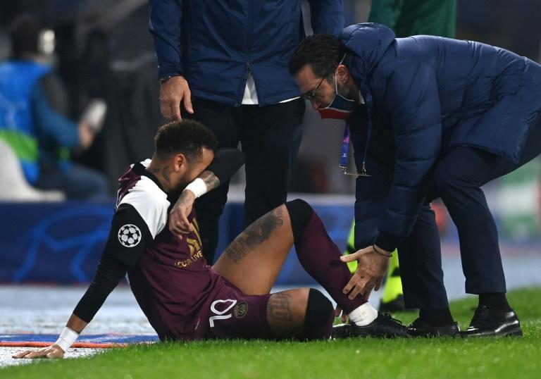 That hurts: Neymar receiving treatment in Istanbul on Wednesday