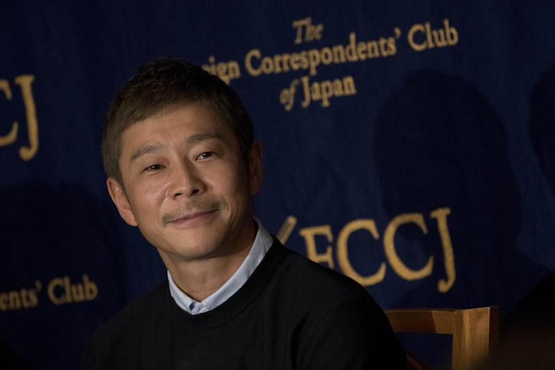 Yusaku Maezawa, entrepreneur and CEO of ZOZOTOWN and SpaceX BFR's first private passenger, speaks during a press conference at the Foreign Correspondents' Club of Japan in Tokyo on October 9, 2018. It was confirmed in September that Maezawa will be the first man to fly around the moon on a SpaceX rocket as early as 2023. (Photo by Alessandro Di Ciommo/NurPhoto via Getty Images)