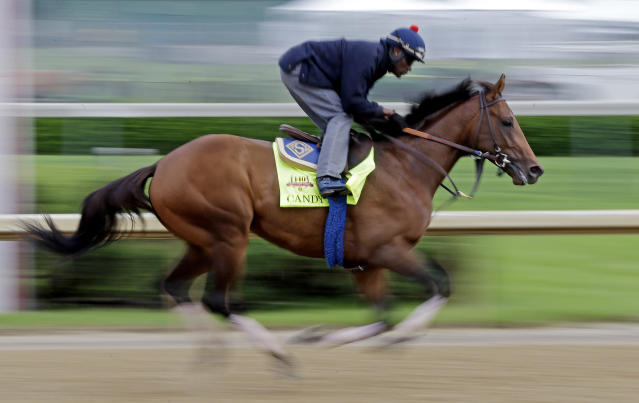 Exercise rider Jelani Grant takes Kentucky Derby hopeful Candy Boy for a morning workout at Churchill Downs Tuesday, April 29, 2014, in Louisville, Ky. (AP Photo/Morry Gash)