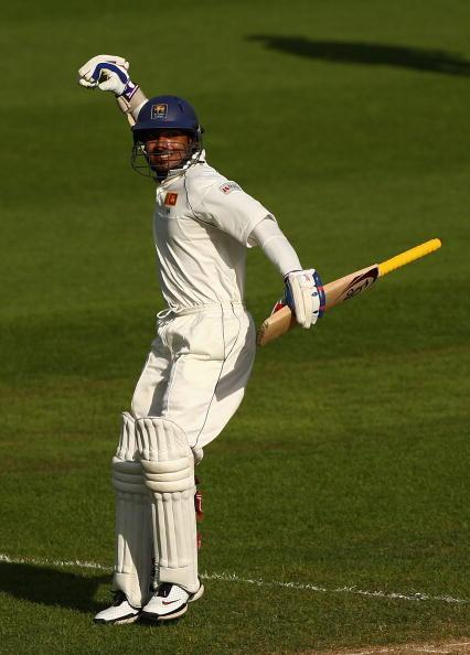 HOBART, AUSTRALIA - NOVEMBER 19:  Kumar Sangakkara of Sri Lanka celebrates scoring 100 runs during day four of the Second test match between Australia and Sri Lanka at Bellerive Oval on November 19, 2007 in Hobart, Australia.  (Photo by Cameron Spencer/Getty Images)