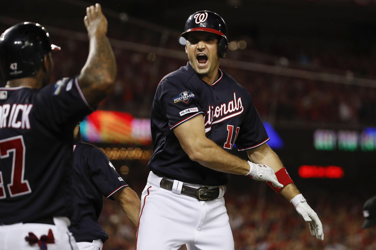 The Nationals stay alive by beating the Dodgers in NLDS Game 4. (AP Photo/Alex Brandon)