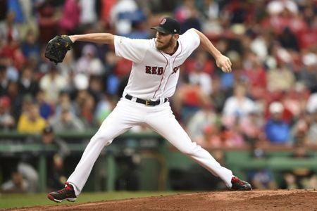 Oct 9, 2017; Boston, MA, USA; Boston Red Sox pitcher Chris Sale (41) pitches against the Houston Astros during the fourth inning in game four of the 2017 ALDS playoff baseball series at Fenway Park. Mandatory Credit: Bob DeChiara-USA TODAY Sports