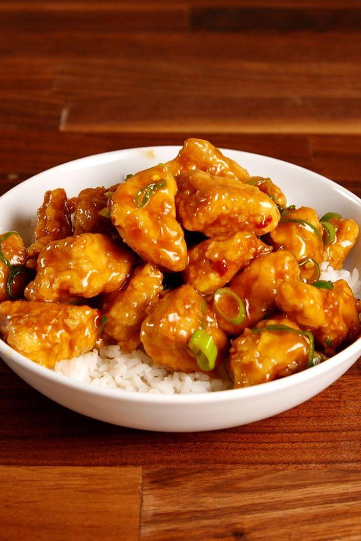 """<p>Say hello to your new favorite weeknight meal.</p><p>Get the recipe from <a href=""""https://www.delish.com/cooking/recipe-ideas/recipes/a52467/sticky-orange-chicken-recipe/"""" rel=""""nofollow noopener"""" target=""""_blank"""" data-ylk=""""slk:Delish"""" class=""""link rapid-noclick-resp"""">Delish</a>.</p>"""