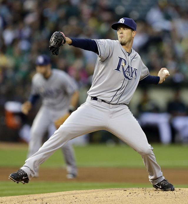 Tampa Bay Rays' Drew Smyly works against the Oakland Athletics in the first inning of a baseball game Tuesday, Aug. 5, 2014, in Oakland, Calif. (AP Photo/Ben Margot)