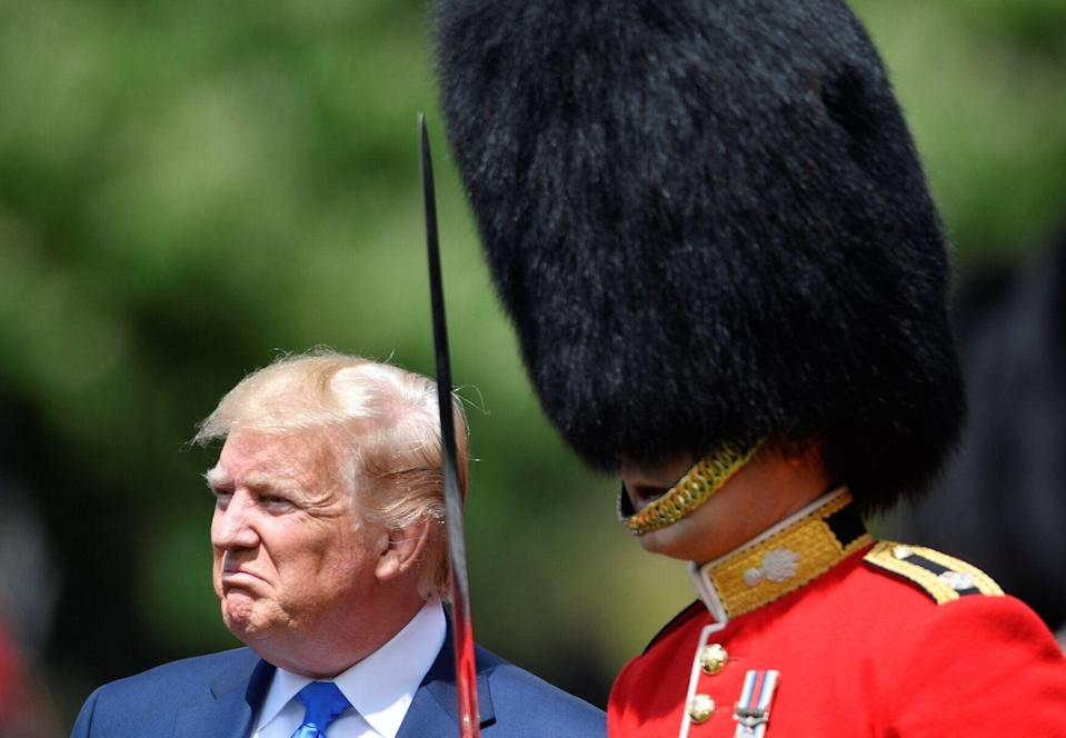 US president Donald Trump inspects the Guard of Honour during a Ceremonial Welcome at Buckingham Palace (Picture: PA)