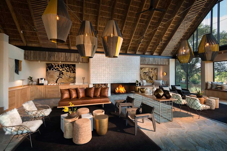 A living room at the Lion Sands Game Reserve, voted one of the best hotels in the world
