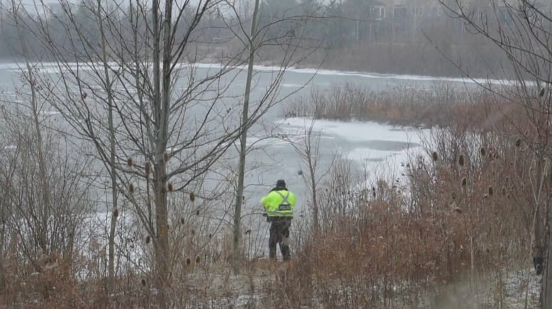 The boy who died went through the ice in this storm management pond in Milton. (Andrew Collins/CBC)