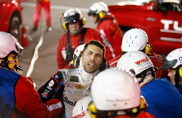The roof was cut off Almirola's car to get him out. (Getty)