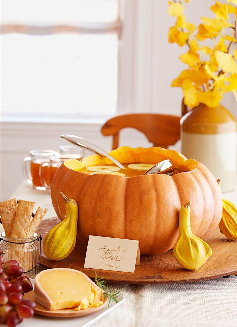 """<p>If you hollow out <a href=""""https://www.goodhousekeeping.com/holidays/halloween-ideas/g238/pumpkin-carving-ideas/"""" rel=""""nofollow noopener"""" target=""""_blank"""" data-ylk=""""slk:a pumpkin"""" class=""""link rapid-noclick-resp"""">a pumpkin</a> and use it as a punch bowl, you'll have one less dish to wash at the end of the night.</p>"""