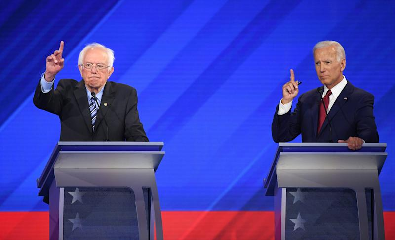 Democratic presidential hopefuls Senator of Vermont Bernie Sanders (R) and Former Vice President Joe Biden (R) during the third Democratic primary debate of the 2020 presidential campaign season hosted by ABC News in partnership with Univision at Texas Southern University in Houston, Texas on September 12, 2019. (Photo: Robyn Beck/AFP/Getty Images)