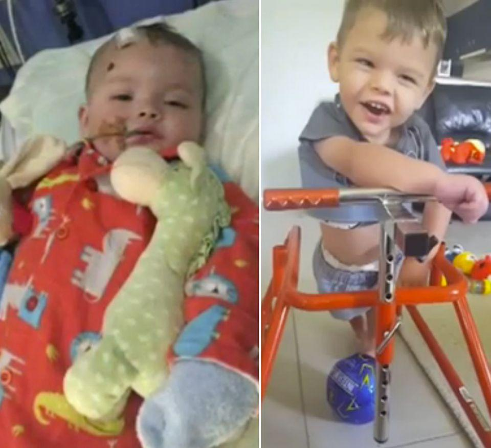 Bobby Webber pictured at seven-months-old and now. Photo: 7 News