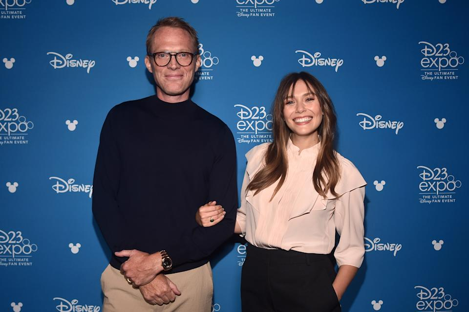 ANAHEIM, CALIFORNIA - AUGUST 23: (L-R) Paul Bettany and Elizabeth Olsen of 'WandaVision' took part today in the Disney+ Showcase at Disney's D23 EXPO 2019 in Anaheim, Calif.  'WandaVision' will stream exclusively on Disney+, which launches November 12. (Photo by Alberto E. Rodriguez/Getty Images for Disney)