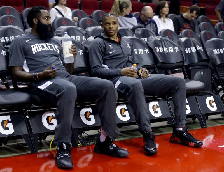 MVP pair: Former MVPs James Harden and Russell Westbrook will try to mesh their considerable talents for the Houston Rockets (AFP Photo/Bob Levey)