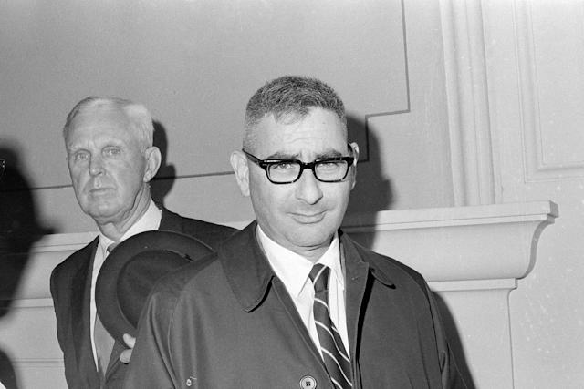 <p>Dr. Werner Spitz, deputy chief medical examiner from Baltimore, is shown after testifying during the second day of a hearing on a petition to exhume the body of Mary Jo Kopechne for an autopsy, in Wilkes-Barre, Pa., Oct. 21, 1969. Dr. Spitz took the stand and testified that an autopsy on the body would not prove anything. Kopechne died when the car, driven by Sen. Edward Kennedy, plunged off the Dike Bridge into the channel between Chappaquiddick Island and Martha's Vineyard, Mass. (Photo: Paul Vathis/AP) </p>
