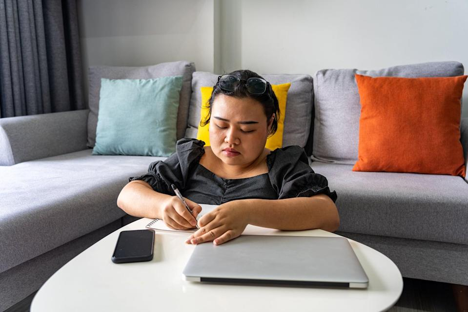 """<p>Journaling in itself may be a form of self-care for you, and Polanco said that you can either journal about your grief or simply write down what you're feeling that day. """"Some people don't want to journal specifically about the grief, and if you just <a href=""""https://www.popsugar.com/fitness/how-to-journal-for-your-mental-health-47222028"""" class=""""link rapid-noclick-resp"""" rel=""""nofollow noopener"""" target=""""_blank"""" data-ylk=""""slk:journal in general"""">journal in general</a> every day, part of the grief is still in that journaling,"""" she said. Try the following prompt to start: <em>What am I feeling right now?</em></p>"""