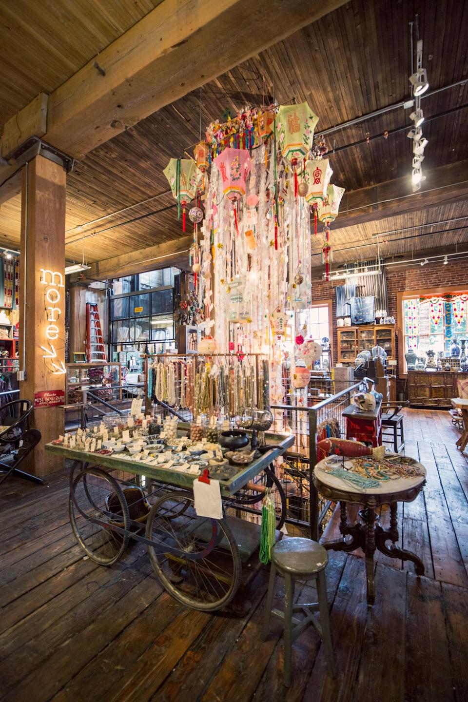 """<p><strong>What's this shop all about?</strong><br> Combining the talents and passions of ceramicist and art collector Patty Merrill and interior designer Bridgid Blackburn, this emporium's tagline is """"purveyors of curious objects,"""" and that's putting things mildly—walk up the steep stairs into the unassuming historic inner eastside warehouse and into what feels like a treasure hunter's fever dream, particularly if you're a seeker of rare, handcrafted, meaningfully-made, and sustainably-sourced textiles, jewelry, and home decor. While much of the inventory hails from distant lands like India, Israel, <a href=""""https://www.cntraveler.com/destinations/bali?mbid=synd_yahoo_rss"""" rel=""""nofollow noopener"""" target=""""_blank"""" data-ylk=""""slk:Bali"""" class=""""link rapid-noclick-resp"""">Bali</a>, <a href=""""https://www.cntraveler.com/story/how-to-take-your-vietnam-trip-to-the-next-level?mbid=synd_yahoo_rss"""" rel=""""nofollow noopener"""" target=""""_blank"""" data-ylk=""""slk:Vietnam"""" class=""""link rapid-noclick-resp"""">Vietnam</a>, and Guatemala, there's plenty of local artisan presence too, both on shelves and via the pop-ups nested within the store; be sure to browse Appetite, an apothecary and houseplant shop curated by two New Mexico-born sisters (hence the Los Poblanos lavender salve), and Hello! Good Morning!, a next-level toy shop founded by a former Laika animation studio artist.</p> <p><strong>What items jump out at you as you browse?</strong><br> Hand-dyed hemp tunics, elaborately beaded Ayala Bar jewelry from Israel, teetering vintage brass tiffins, brightly-stitched kantha quilts and vintage silk blankets hand-loomed in Laos, tarot decks and traveling shrines, double-sided Andy Warhol puzzles, and everything needed for a <a href=""""https://www.cntraveler.com/galleries/2014-10-17/photos-dia-de-los-muertos-celebrations-from-around-the-world?mbid=synd_yahoo_rss"""" rel=""""nofollow noopener"""" target=""""_blank"""" data-ylk=""""slk:Day of the Dead"""" class=""""link rapid-noclick-resp"""">Day of the Dead</a> altar (not to menti"""