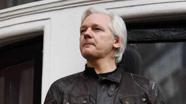 PHOTO: Wikileaks founder Julian Assange speaks to the media from the balcony of the Embassy of Ecuador in London on May 19, 2017. (AFP/Getty Images, FILE)