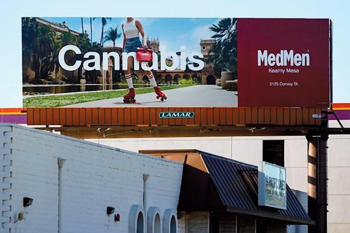 A billboard on Morena Boulevard advertises the MedMen marijuana store in San Diego.