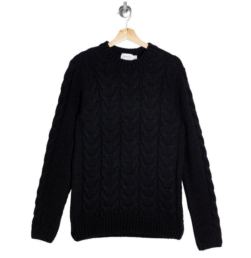 """<p><strong>Topman</strong></p><p>nordstrom.com</p><p><strong>$55.00</strong></p><p><a href=""""https://go.redirectingat.com?id=74968X1596630&url=https%3A%2F%2Fwww.nordstrom.com%2Fs%2Ftopshop-cable-knit-sweater%2F5815837%3Forigin%3Dkeywordsearch-personalizedsort%26breadcrumb%3DHome%252FAll%2BResults%252FMen%2527s%2BClothing%252FSweaters%26color%3Dnavy%2Bblue&sref=https%3A%2F%2Fwww.esquire.com%2Fstyle%2Fmens-fashion%2Fg14012516%2Fcable-knit-sweaters-men%2F"""" rel=""""nofollow noopener"""" target=""""_blank"""" data-ylk=""""slk:Buy"""" class=""""link rapid-noclick-resp"""">Buy</a></p>"""