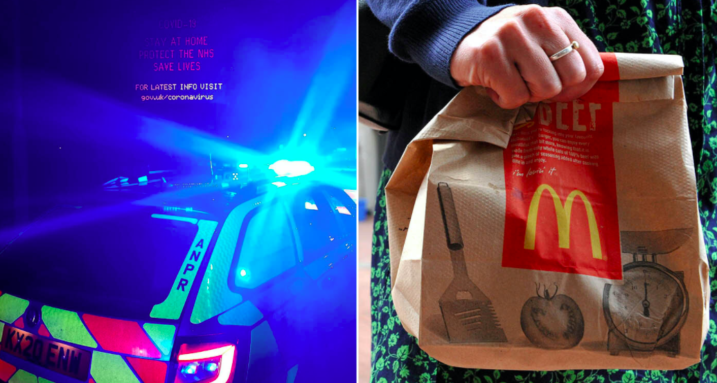 The two men and two women claimed they were on their way to get a McDonald's breakfast. (SWNS)