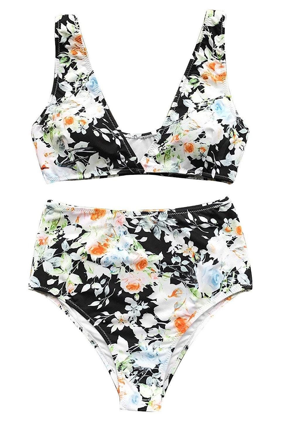 """We're suckers for a good floral print, especially when it has 4 out of 5 stars. Customers praised the brief's coverage: """"The bottom fits great, and my butt isn't hanging out, which is always a good thing,"""" according to one reviewer.<br><br><strong>Cupshe</strong> Ditsy Floral Bikini, $, available at <a href=""""https://www.amazon.com/CUPSHE-Womens-Waisted-Bikini-Swimwear/dp/B075ZSVMLV/ref=sr_1_404?"""" rel=""""nofollow noopener"""" target=""""_blank"""" data-ylk=""""slk:Amazon"""" class=""""link rapid-noclick-resp"""">Amazon</a>"""