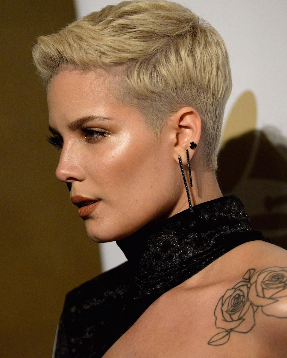 We love the super-short sides of Halsey's cut; they give it a little extra edge.