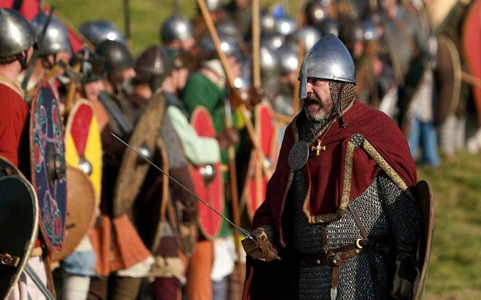 A re-enactor playing the part of King Harold Godwinson (Gareth Fuller/PA) (PA Wire)