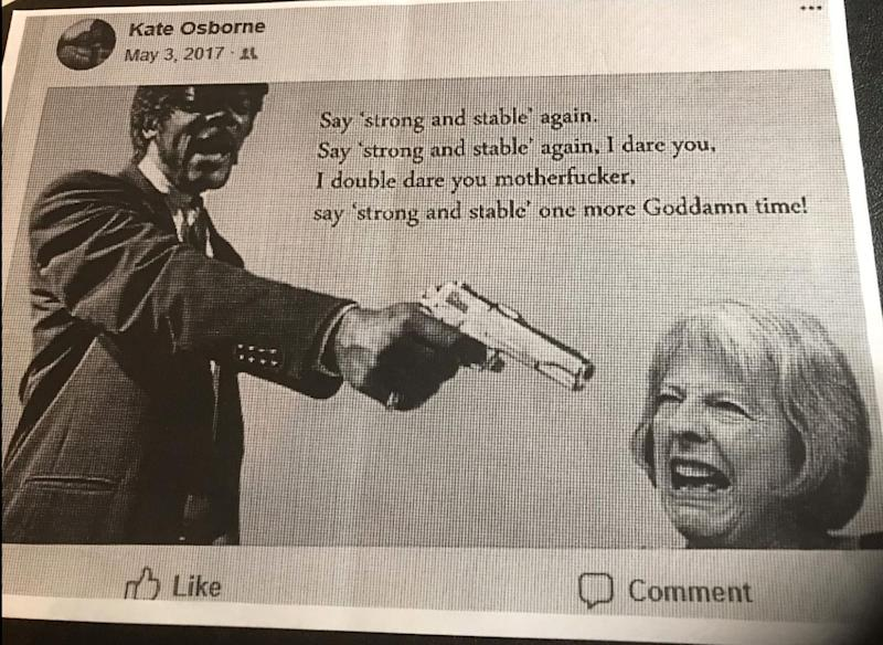 The image Kate Osborne shared on Facebook during the 2017 election campaign, which recently emerged, sparked a complaint by almost 40 female candidates.  (Photo: Kate Osborne)