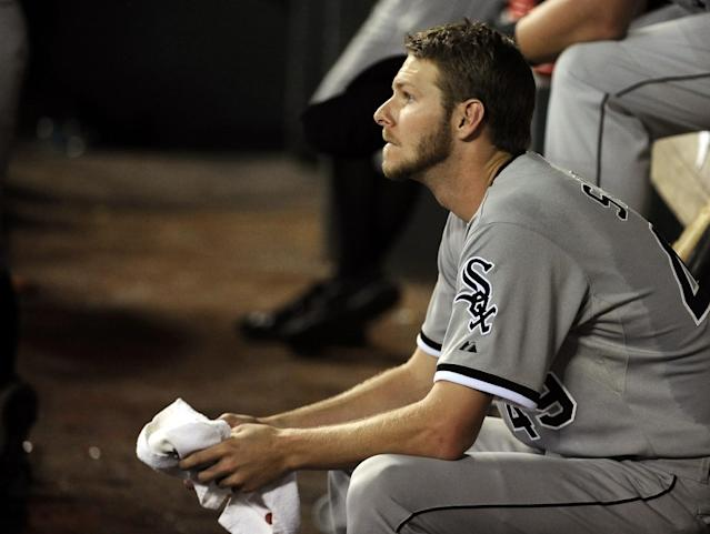 Chicago White Sox starting pitcher Chris Sale watches the ninth inning of a baseball game against the Houston Astros, Friday, June 14, 2013, in Houston. Sale pitched eight innings in the Astros 2-1 win. (AP Photo/Pat Sullivan)