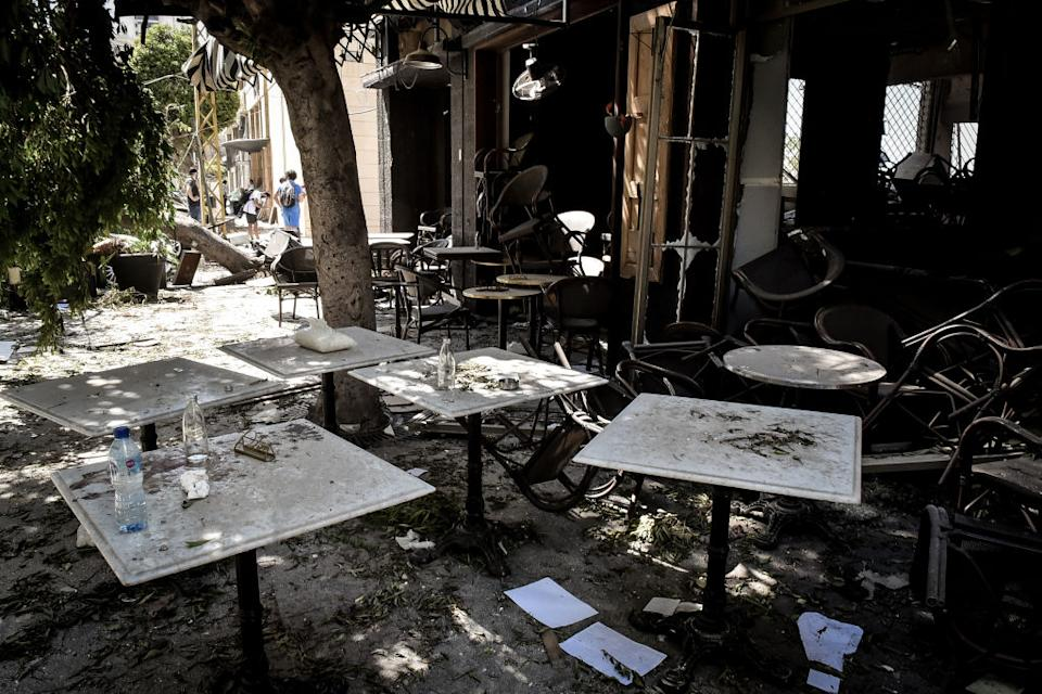 A damaged restaurant is seen the day after the massive explosion. Source: Getty