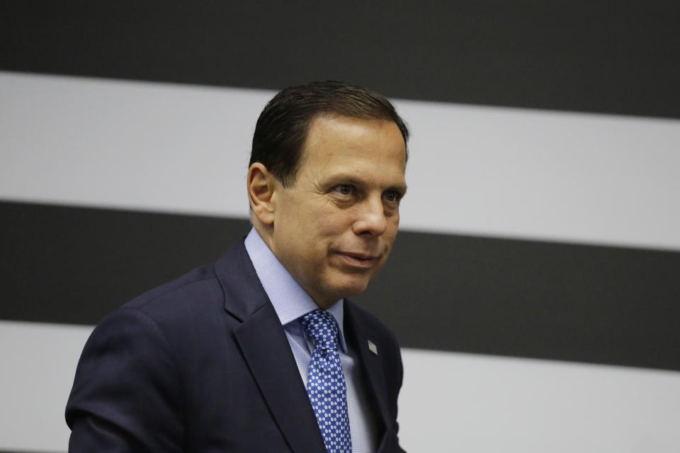 """In this Nov. 7, 2019 photo, Gov. Joao Doria attends a press conference in Sao Paulo, Brazil. As Rio de Janeiro vies for the Brazil F1 GP race, Doria commented on the planned Rio venue, """"You can't get there. There are no roads, just go by horse. Make a visit, rent a helicopter, a drone. There is no access, no energy, no basic sanitation."""" (AP Photo/Nelson Antoine)"""