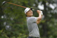 K.H. Lee, of South Korea, tees off from the fifth hole during the final round of the BMW Championship golf tournament, Sunday, Aug. 29, 2021, at Caves Valley Golf Club in Owings Mills, Md. (AP Photo/Nick Wass)