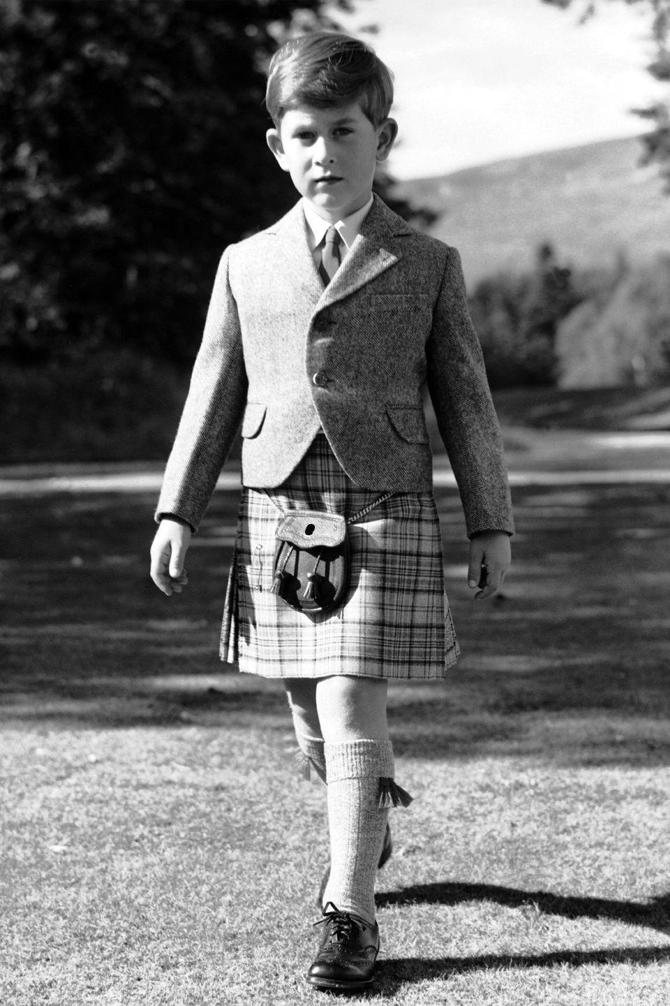 <p>Prince Charles in a kilt on the grounds of the Balmoral Estate.</p>