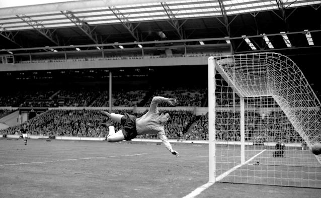 Gordon Banks jumps to make a save in the match with Hungary at Wembley.