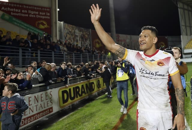 Flags were displayed as Folau made his debut in Perpignan